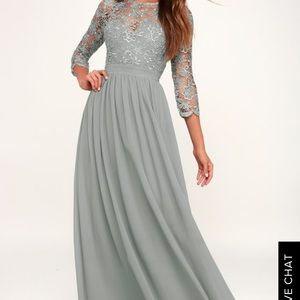 Lulus TOUCH MY HEART SAGE GREY LACE-UP LACE DRESS